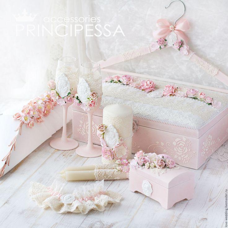 """Купить """"Пудово-розовый"""" свадебный набор - кремовый, аксессуары, Аксессуары handmade, аксессуары для фотосессий"""