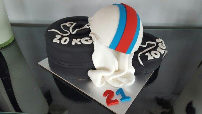 Weight lifting/surf life saving cake