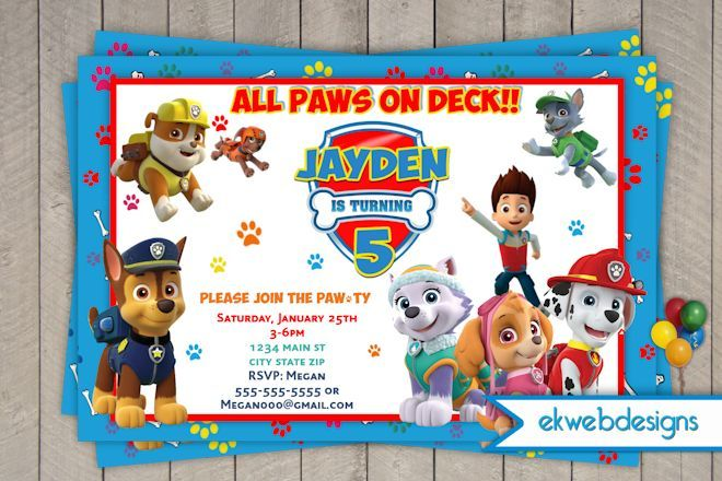 17 best paw patrol images on pinterest anniversary parties birthday celebrations and birthday for Printable paw patrol invitations