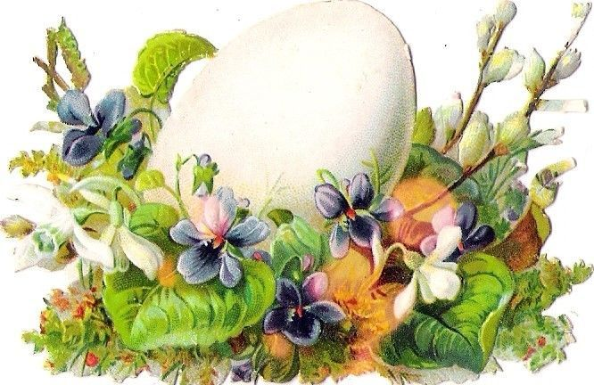 Oblaten Glanzbild scrap die cut chromo 9cm  Ostern easter  Ei egg Blume flower