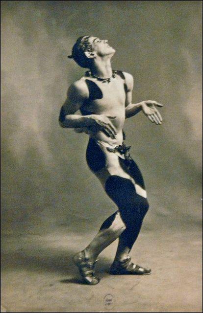 Vaslav Nijinsky in L'Après-Midi D'un Faune. Created for the Ballet Russes de Monte Carlo by Sergei Diaghilev in 1912.  Music by Claude Debussy.
