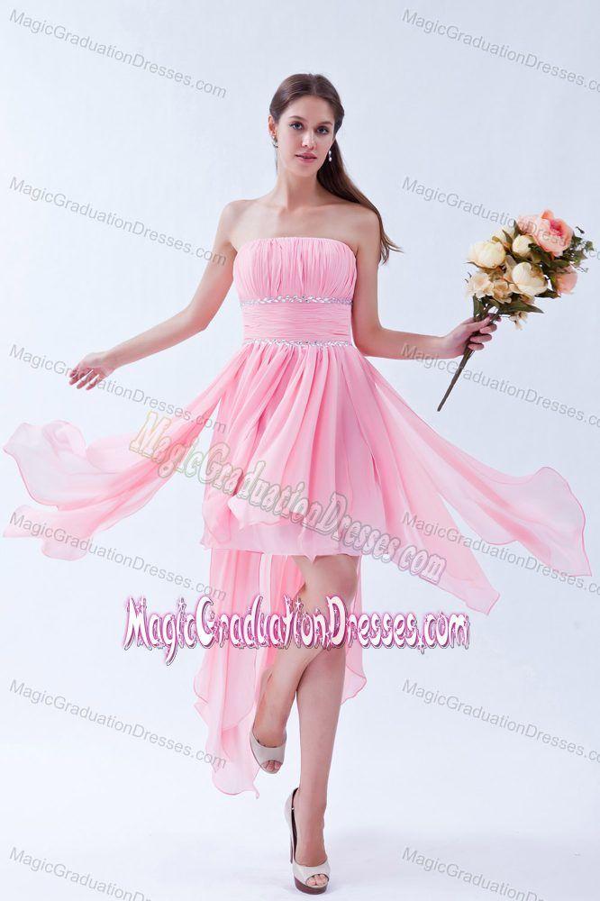 Asymmetrical Pink 5th Grade Graduation Dresses in Elba Beading Accent