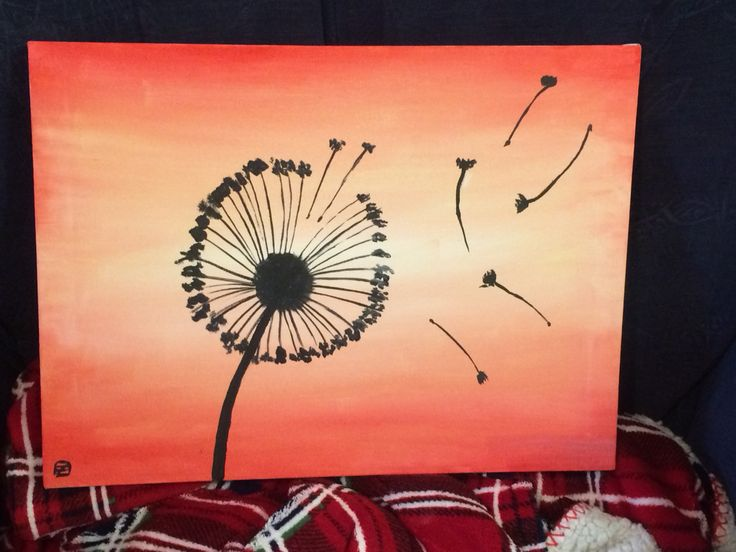 Dandelion silhouette painting for my daughter, she loves them so much #blowers lol