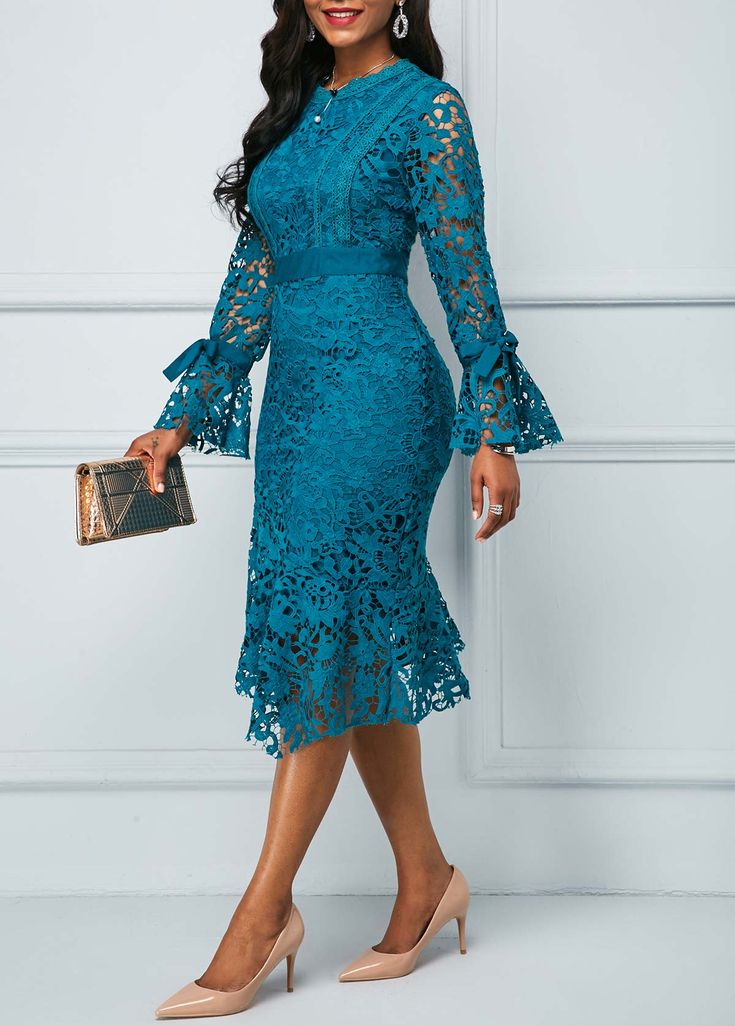 Peacock Blue Flare Sleeve Asymmetric Hem Lace Dress