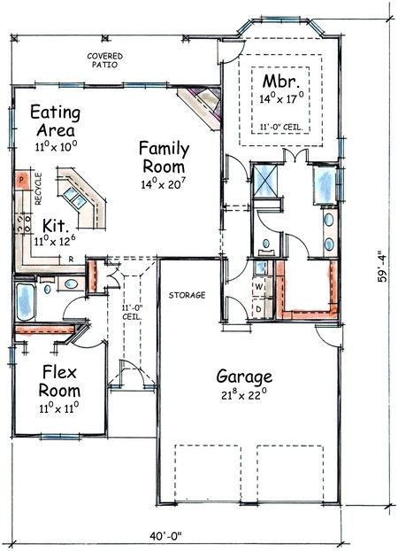 House Plan 402 01388   Ranch Plan: 1,423 Square Feet, 2 Bedrooms, 2  Bathrooms