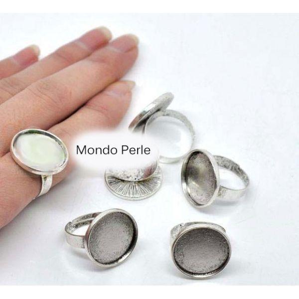 basi anello anelli 5 pezzi in metallo argento piastra 18,5 mm regolabili resina
