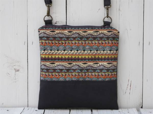 Handmade Canvas Crossbody Bag - Abstract Design