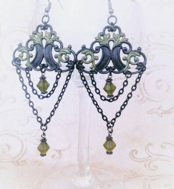 Check out this item in my Etsy shop https://www.etsy.com/listing/515933393/black-chain-earrings-olive-green