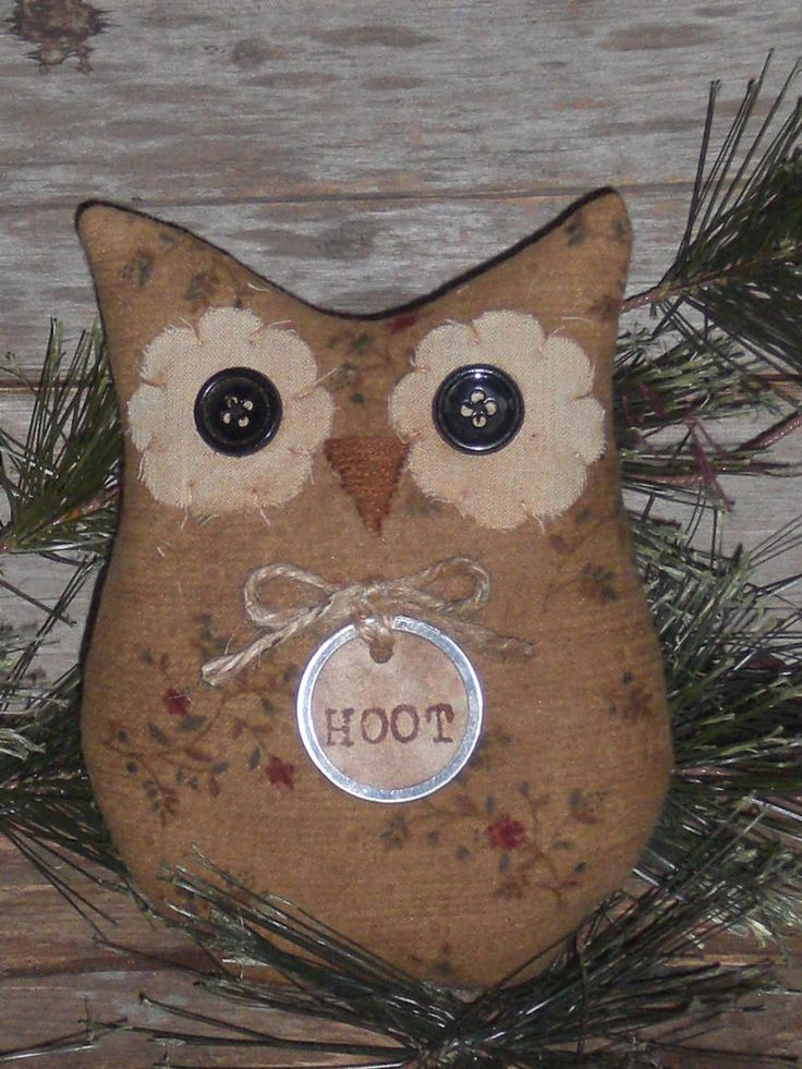 Primitive Whimsical Halloween Hoot Owl Bowl Filler Ornie Shelf Sitter Tuck Doll #NaivePrimitive #ChooseMoosePrimitiveDesigns
