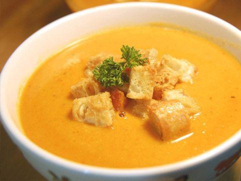 Crema de calabaza y zanahoria con crostones de pan integral :: recetas veganas recetas vegetarianas :: Vegetarianismo.net