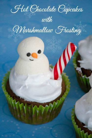 Hot Chocolate Cupcakes with Marshmallow Frosting #SweetEatsHolidayTreats