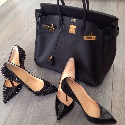 Louboutins and Hermes. Black, black and more black.