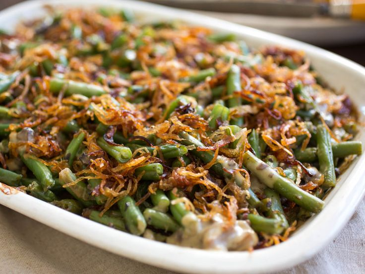 The ultimate home-made version of the classic green bean casserole with fresh green beans, a rich mushroom sauce, and crispy fried shallots.