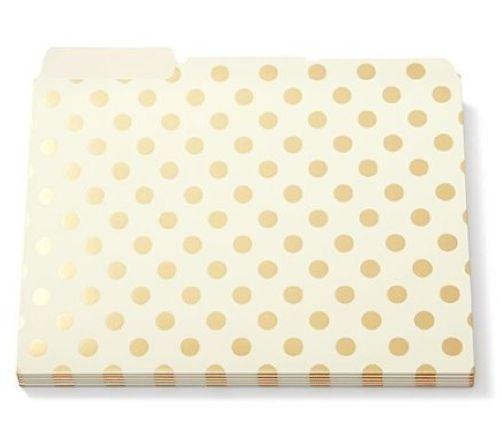 Amazing Kate Spade Gold Foil Dots File Folders Set Of 6