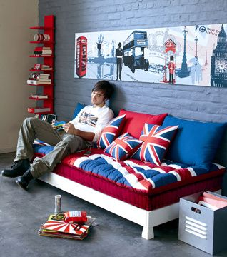 les 25 meilleures id es concernant d co union jack sur pinterest chambre de union jack union. Black Bedroom Furniture Sets. Home Design Ideas
