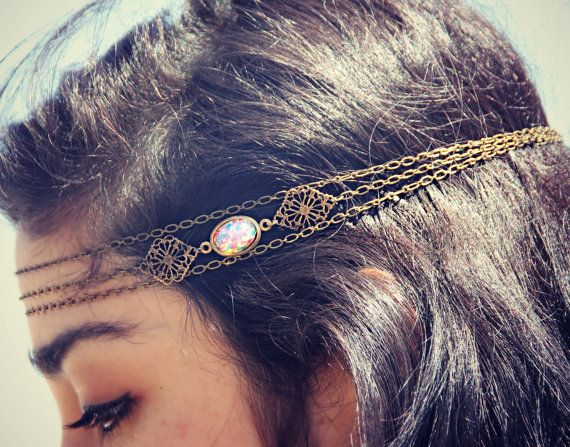 pink opal filigree head chain, chain headband, pink opal headband, metal headband, unique headband on Etsy, $28.00