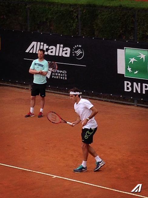 Roger #Federer in allenamento sotto al nostro stand agli Internazionali di Tennis di #Roma, Foro Italico #IBI15 #Tennis