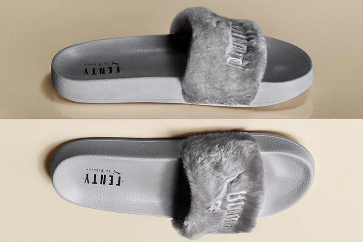 www.wannabesuburbanrockstar.com  Rihanna launches a grey version of her Fenty Fur Slides - Available on August 5th