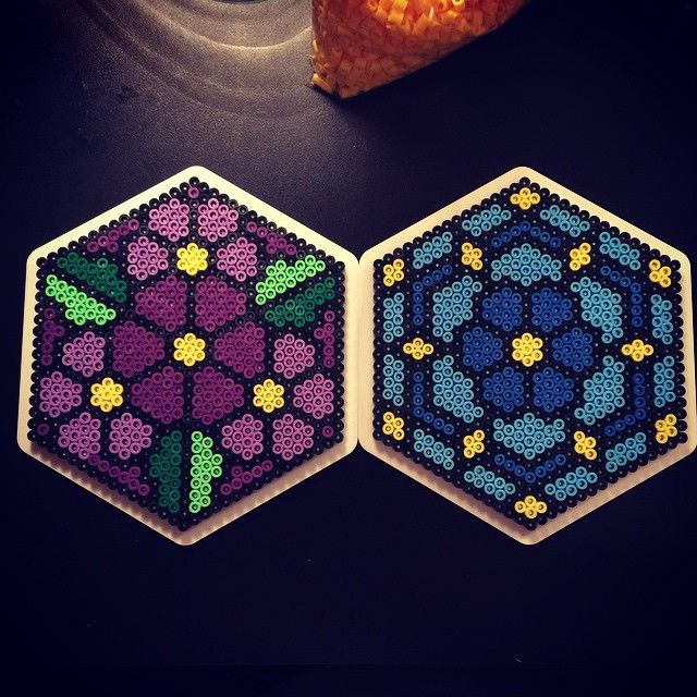 Floral coasters or ornaments -- perler beads by (aslaugsvava)