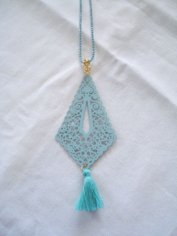 Mint lace charm Metal lace necklace Filigree necklace by Poppyg