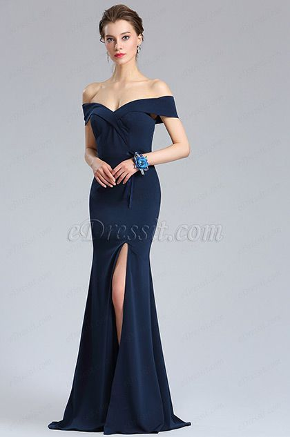 441c020198ed eDressit New Navy Blue Off Shoulder Slit Prom Evening Dress (02182805)