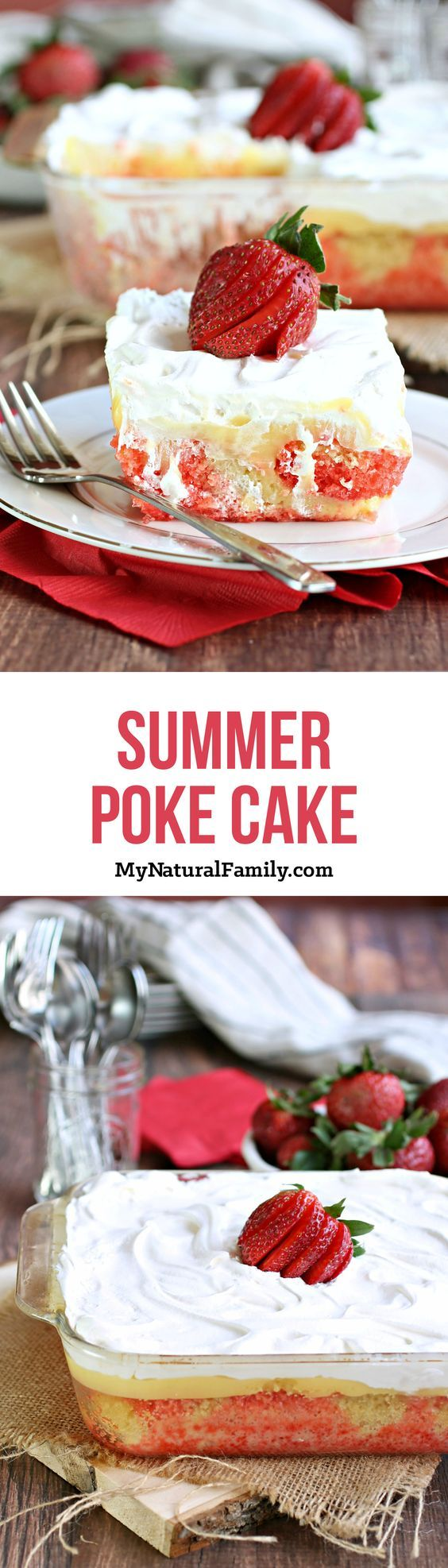 Summer Pudding Poke Cake Recipe - All this takes is a box cake mix, Jello, pudding and Cool Whip. I love how easy it is and how it is so light and refreshing.