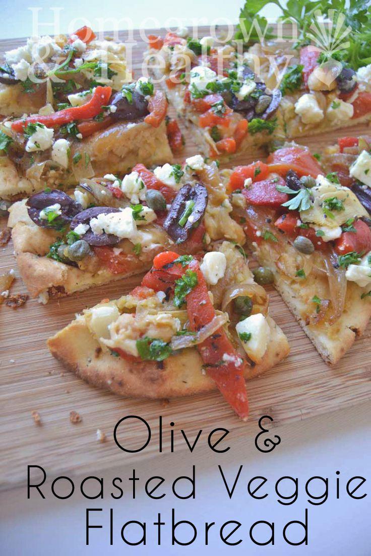 Olive and roasted veggie flatbread, so festive!