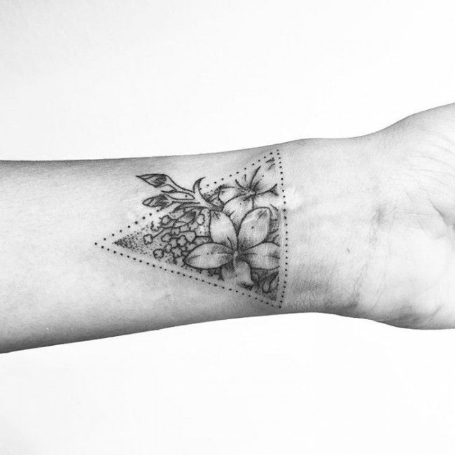 Beautiful triangle floral wrist tattoo design | Black and White Tattoos | Tattoos for women