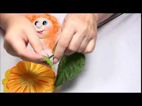 Урок №5   Мастер-класс Цветочек с мордашкой. Пришиваем волосы