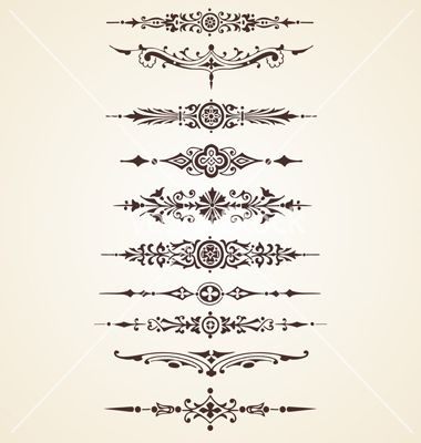 Vintage decorative ornaments text dividers set vector 982738 - by Marius1987 on VectorStock®