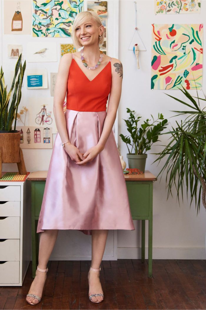 Color block dress in pink and orange | Wedding guest and party dresses for…