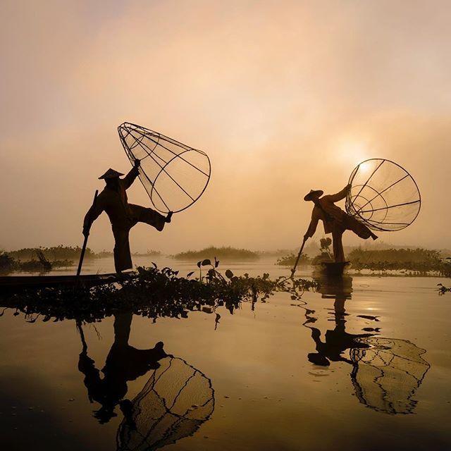 A balancing act: The fishermen of Inle Lake in Burma.