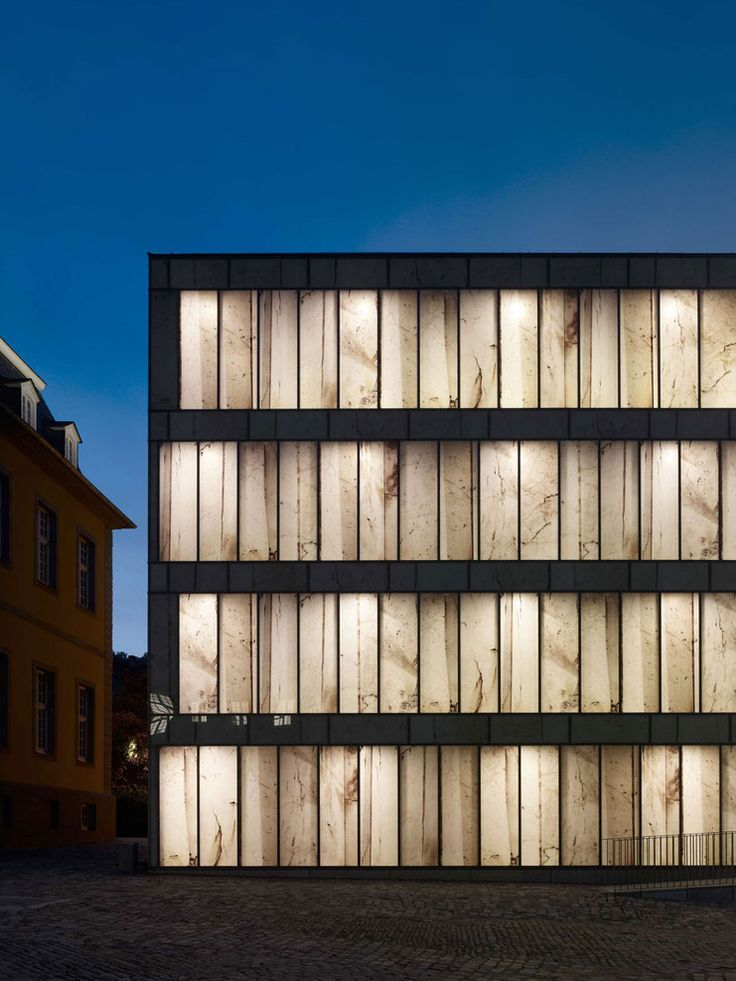 Printed glass facade of the Folkwang Library by Germand architect Max Dudler. Photo by Stefan Müller.