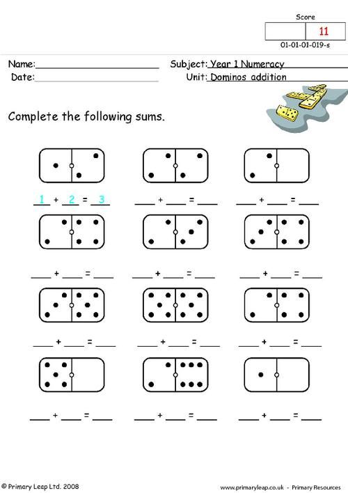 PrimaryLeap.co.uk Dominos addition Worksheet Teach
