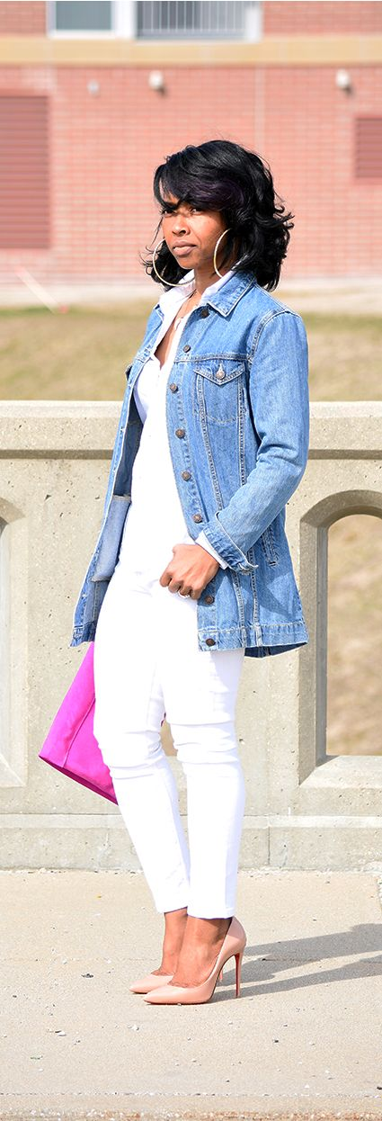 White Jeans, Denim jacket, All White, Denim, OUTFIT POST, SPRING 2016, spring outfit idea