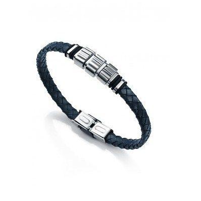 Elegante #pulsera de cuero trenzado azul oscuro de la marca #Viceroy #fashion lleva 3 adornos centrales de #acero con piezas laterales. http://ift.tt/2gkGprP