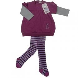 Quality 3 piece set for baby girls. Set includes pullover with pockets, warm fleecy interior, long sleeve tee and footed leggings.  Sizes 3 months, 18 months and 24 months.