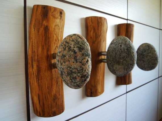 Stone hooks coat hooks Stone towel hook rock towel by LEDinStone