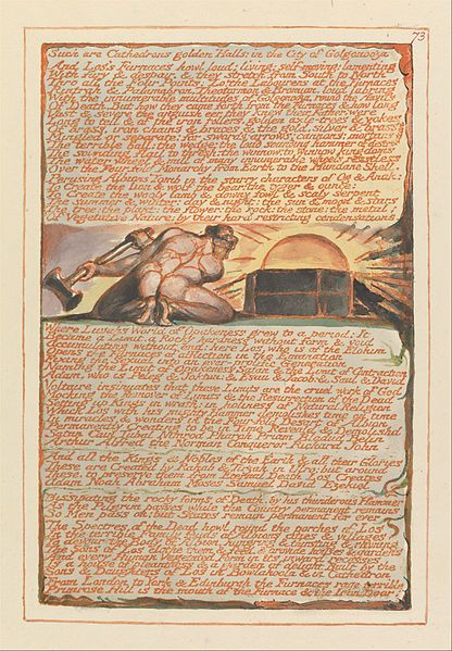 """1804-20.William Blake-Jerusalem The Emanation of the Giant Albion.225х149 mm.Yale Center for British Art.Plate 73, """"Such are Cathedron's golden Halls...."""""""