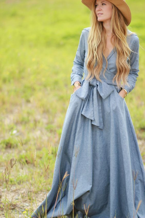 Long sleeve wrap chambray maxi dress
