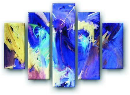 DecoArt24.pl Pięcioczęściowy obraz na płótnie zatytułowany Niebieska abstrakcja.  Autorstwa: Tadija Savic Cena 299.00