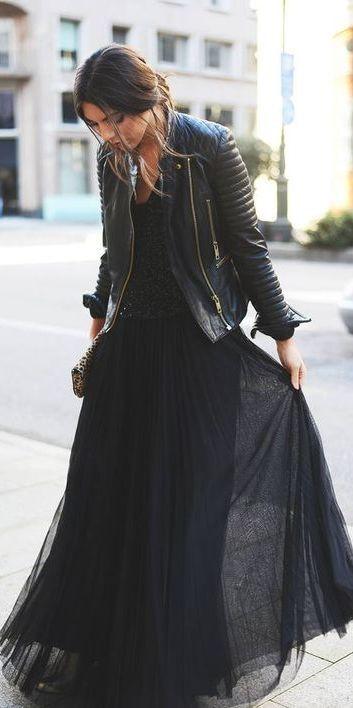 #street #style black everything / pleated maxi skirt + leather jacket @wachabuy