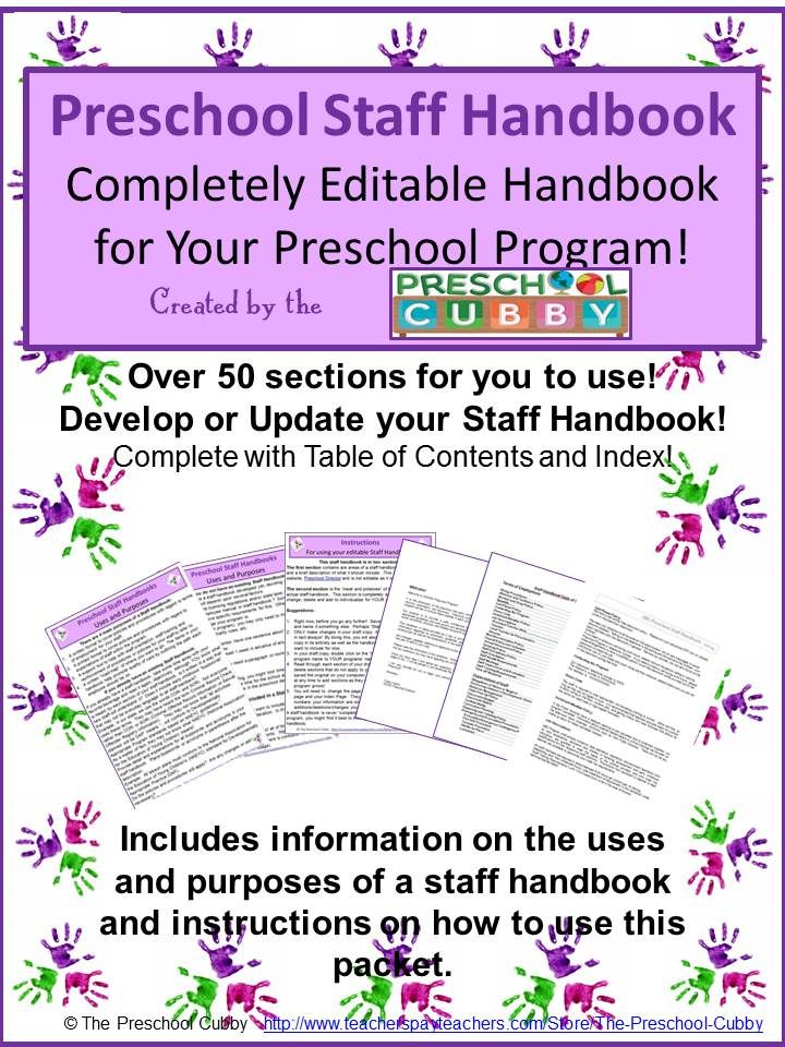 staff handbook for preschool