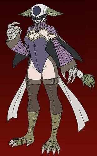 Kyôka (キョウカ Kyōka) is one of the antagonists of Fairy Tail, serving as the secondary antagonist of the Tartaros arc. She was an Etherious of the Dark Guild Tartaros, and a member of the Nine Demon Gates. She was voiced by Ai Kayano in the Japanese version of the anime, and Janelle Lutz in the English version. Kyôka has a very distinct appearance, most notably due to her half-human/half-aviary characteristics. She seems to be of average height and weight, yet possesses an exceptionally la...