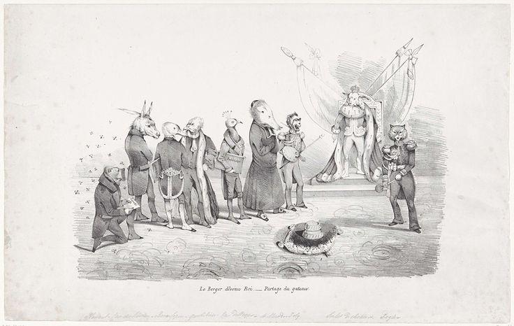 Anonymous   Spotprent op het regentschap van Surlet de Chokier, 1831, Anonymous, 1831   Spotprent op het regentschap van Surlet de Chokier en zijn ministers. Surlet de Chokier werd op 24 februari 1831 tot regent van België benoemd. De regent en zijn ministers zijn voorgesteld als dieren. Surlet de Chokier staande voor zijn troon als een schaap, rechts zijn adjudant Rogier als vos. Links een geknielde hond (Plaisant, chef der politie), een ezel (Van der Linden), een eend (De Coppin), een…