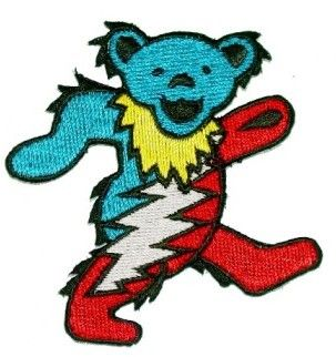 Grateful Dead - Dancing Bear Bolt Patch - $4.99 Dancing bear with a 13 point lightning bolt patch. This patch is approx. 3' tall and can be ironed or sewn on. Officially licensed Grateful Dead merchandise.