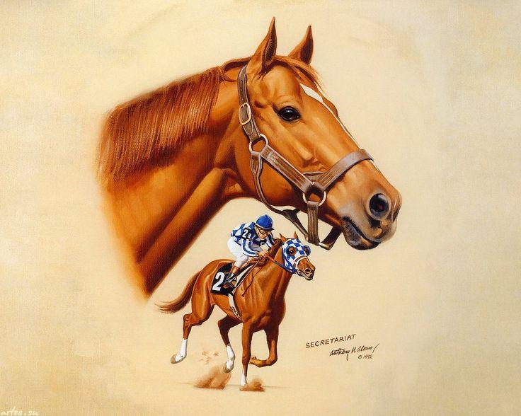 Скачать обои животные, рыжий жеребец, Secretariat, Anthony M.Alonso 1280x1024