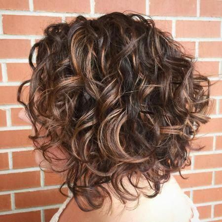 Brunette Angled Curly Bob Hairstyle #curlyhairbob #curlybobhairstyles