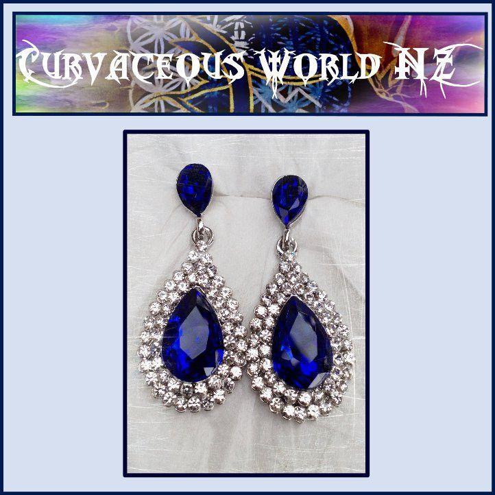 Sapphire (CZ) tear drop rhinestone earrings