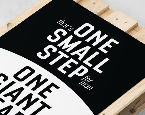 Moon landing quote print Neil Armstrong Apollo 11 poster